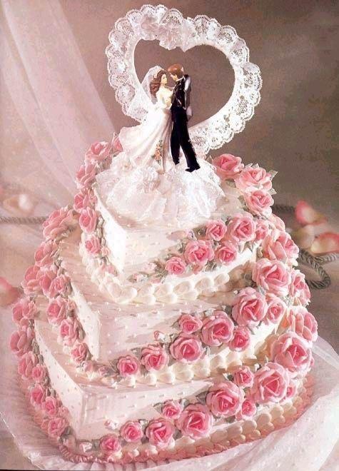 Mariage - Gâteau des roses, couple