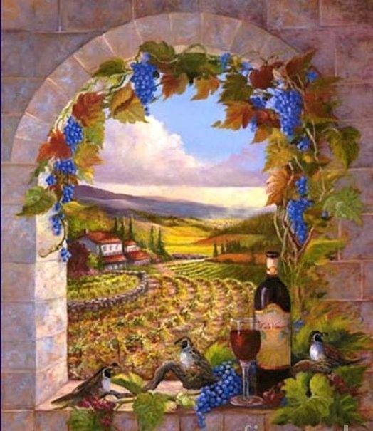 Aliments Fruits - Vue sur champs des vendanges