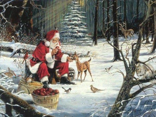 Arrière plan Temps des Fêtes - Père Noël en forêt