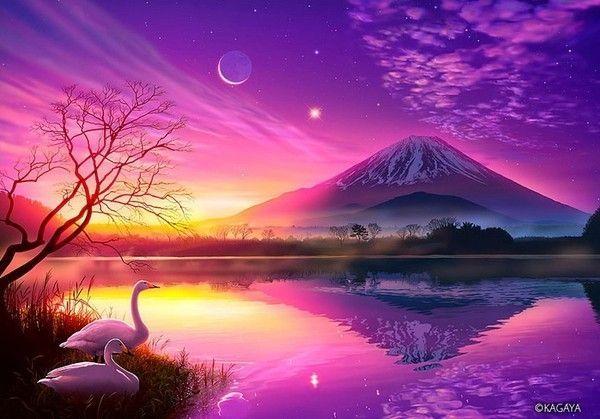 Cygnes du paysage rose
