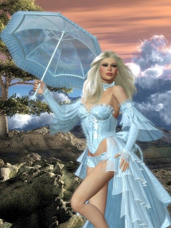 Femme - Blonde au costume bleu et parapluie