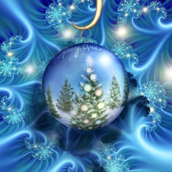 Joyeux Noël - Boule, fond bleu
