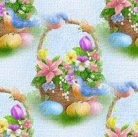 Arrière plan Pâques - Petit panier de fleurs, oiseaux, oeufs